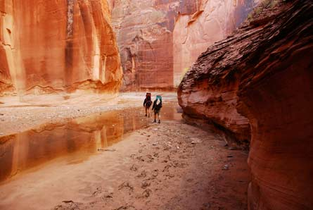 "Camp and Hike  ""Reflections in Orange"" Paria River Canyon, Utah"