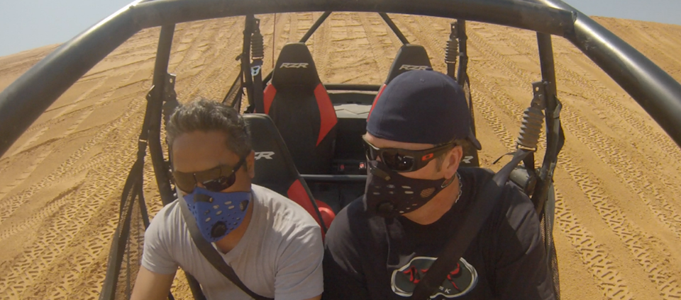 Motorsports Michael and Steve from RZ Mask rippin the RZR 900 in Little Sahara