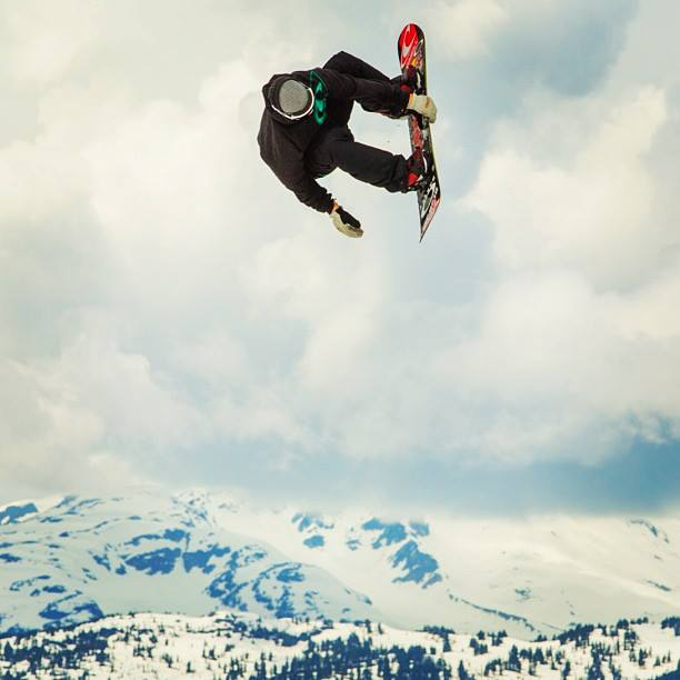 Snowboard Insta: @sebtoots ||  Flying in the sky at #Whistler ! #clouds #awesome #straightchilling Photo:@sunsetfilms
