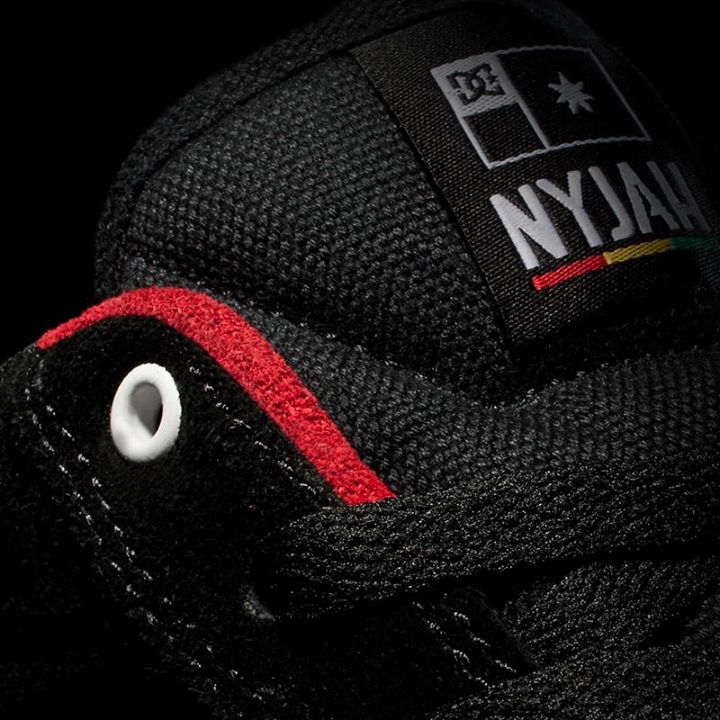 Skateboard Here's another look at Nyjah Huston's first DC signature shoe featuring red suede collar accents for added durability. It's coming 5.31.13!