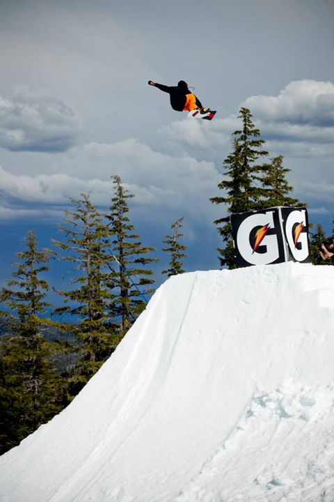 Snowboard Cam Fitzpatrick with proper style on this Frontside Air.
