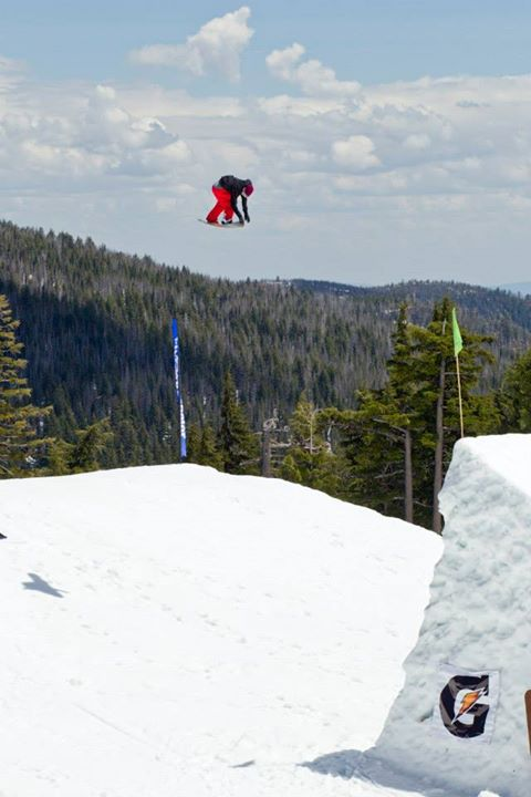 Snowboard Logan Haubrich likes grabbing tail on his BS 540. Mt. Bachelor, Oregon.