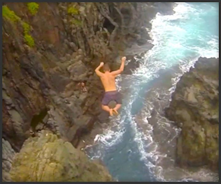 Extreme Cliff Jumping Hawaii - Proof.  Nearly 4 million views...tops on www.thrillon.com/watersports!