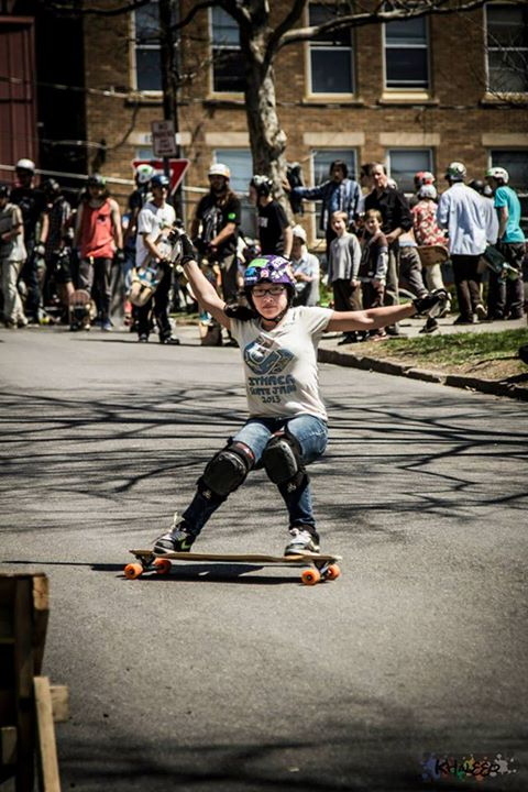 Skateboard Longboard Girls Crew USA Ambassador Possala Wang at  Ithaca slide Jam 