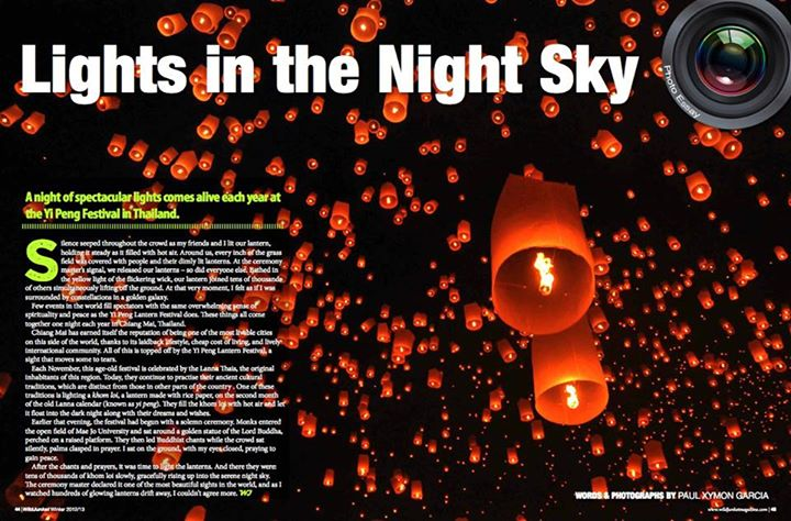 Entertainment Have you ever seen thousands of lanterns floating in the the sky? It's magical, as professional photographer Paul Xymon Garcia shows us in his stunning photo essay of Thailand's Yi Peng festival - in the latest issue of WildJunket Magazine.