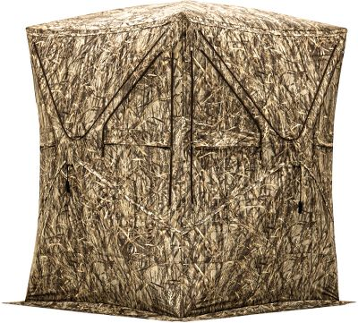 Rather than trying to take an accurate shot while crouching or hunkered in a cramped blind, Big Mike Camo Blinds are engineered for most hunters to shoot while standing up the same way they practice. Spacious ground blind easily accomodates two hunters. 75W x 75D in the middle leaves plenty of room for drawing your bow. Replaceable shoot-through-mesh windows are adjustable from the inside so you remain concealed. Five-hub design for simple setup and takedown. Integrated brush holders for additional concealment. Includes gear pockets, tie-down ropes and ground stakes. Imported.Dimensions: 80H x 59W x 59D.Weight: 19 lbs.Camo pattern: BloodTrail. Type: Hub Blinds. Ground Blind Type: Hub Blinds. - $159.99