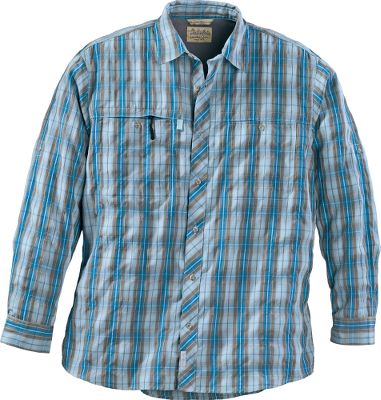 Camp and Hike Not only is our Mens Long-Sleeve Camp Shirt with Insect Defense System decked out with plaid and outdoor performance, its equipped with No Fly Zone insect-repellent technology by Burlington. Treated with permethrin, a synthetic form of a naturally occurring repellent found in the chrysanthemum flower, this shirt creates an invisible barrier that protects you from multiple species of pesky insects. Crafted of ultralightweight polyester, this breathable, quick-drying, moisture-wicking shirt is about as comfortable as it gets. UPF rating of 50. Swiss-tab sleeves add versatility. Hidden hook-and-loop collar points. Straight hem for comfort. Welt chest pockets with hidden zippers. Imported. Sizes: M-2XL. Colors: Grey Plaid, Green Plaid, Blue Plaid, Yellow Plaid, Blue Moon Plaid, Golden Sun Plaid (not shown), Goose Grey Plaid, Olive Grove Plaid. Size: Large. Color: Green Plaid. Gender: Male. Age Group: Adult. Pattern: Plaid. Material: Polyester. Type: Long-Sleeve Shirts. - $31.88