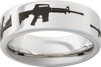Entertainment Titanium ring has a laser engraved AR-15 rifle pattern around its 8mm wide band. Individually machined from a solid bar of aircraft-grade titanium thatts nearly indestructible and extremely scratch resistant. Made in USA. Mens half sizes: 5 to 13.5 Color: Titanium. Gender: Male. Age Group: Adult. Pattern: Solid. - $99.99