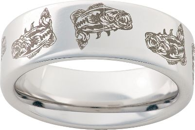 Entertainment Titanium ring has a laser-engraved largemouth bass pattern around its 8mm wide band. Individually machined from a solid block of aircraft-grade titanium thats nearly indestructible and extremely scratch resistant. Made in USA. Mens half sizes: 5 to 13.5. Color: Titanium. Gender: Male. Age Group: Adult. Pattern: Solid. - $99.99