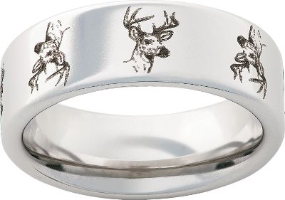 Hunting Laser-engraved deer and titanium team up for the ultimate, classy outdoor statement. Individually machined from a solid bar of aircraft-grade titanium, this lifetime investment boasts twice the strength and hardness of most titanium jewelry. 8mm. Made in USA. Mens half sizes: 5 to 13.5. Color: Titanium. Gender: Male. Age Group: Adult. Pattern: Solid. Type: Rings. - $99.99