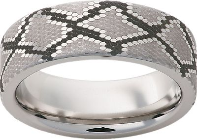 Entertainment Titanium ring that has a laser engraved snakeskin pattern around its 8mm wide band. Individually machined from a solid bar of aircraft-grade titanium thats nearly indestructible and extremely scratch resistant. Made in USA. Mens half sizes: 5 to 13.5. Color: Titanium. Gender: Male. Age Group: Adult. Pattern: Solid. Type: Rings. - $99.99