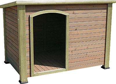 Entertainment Provide a sturdy, weather-resistant shelter for your dog while improving the look of your backyard. Constructed of solid wood, with a slanted-asphalt-shingle roof and waterproof plastic feet that raise it off the ground, this Precision Pet Products Extreme Log-Cabin Dog House is ideal for keeping your pooch warm and dry. An off-center entrance enhances protection from weather, and provides plenty of space for movement. Assembles in three simple steps.Available:Medium: 44.5L x 26.4W x 29.5HLarge: 45.5L x 33W x 32.8H - $239.99