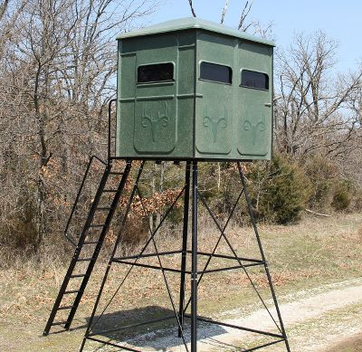Engineered and built with comfort and convenience in mind for bow and gun shooters, Redneck Blinds The Shooter Hunting Blind boasts windows on all four sides for a 360 view and seamless construction for silence and improved scent control. 100% fiberglass construction has a maintenance-free gel coating that protects the blind fromUV damage, peeling, fading, rot and varmints. Windows with whisper-quiet hinges and automotive-grade gaskets and moldings and a submarine-style door seal out dust, water and insects.Flip-up windows are easy to clean and wont freeze shut. Tinted, tempered glass is fade- and scratch-resistant. Interior comforts include shelving, gun holders and marine-grade carpeting on the floor and lower walls. Perfect for two to three people. Comes completely assembled. Made inUSA. Available: Blind, Blind with 10-ft. stand. Interior: 80H x 70W x 57D. Exterior: 82H x 71W x 60D. Side and front windows: 9.5H x 27.5W. Door window: 9.5H x 18W. A Video Public Service Announcement from the TREESTAND MANUFACTURERS ASSOCIATION Type: Box Blinds. - $1,799.99