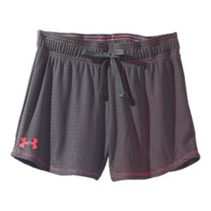 "Fitness Mesh up the top, color underneath-get the layered look without the bulk with these awesome athletic shorts. From field hockey to wind sprints, the notched leg, quick-dry construction, and soft, sleek fabric keep these shorts moving strong all practice long. Soft open hole mesh with pop color lining delivers unbelievable breathability and comfortSignature Moisture Transport System wicks sweat to keep you dry and lightNotched leg and slightly graduated hem offer enhanced mobility and a seriously cute finishClassic elastic waistband with external drawcord for a custom, comfort fit3"" inseam with longer rise to eliminate riding and bunchingPolyesterImported - $15.99"