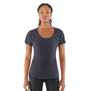 Fitness Amazing burnout pattern. Amazing breathability. This versatile shirt is the perfect balance of looks and performance. Not only is the fit super-flattering, the super-lightweight fabric wicks sweat for incredible comfort no matter what. Soft, ultra-lightweight fabric delivers superior breathability and incredible comfortAllover burnout pattern for a semi-sheer finishSignature Moisture Transport System wicks sweat to keep you dry and light Lightweight, 4-way stretch construction improves mobility and maintains shapeSeamless turn back sleeves Feminine scoop neck collar with athletic V stitchDrop-tail hem offers superior coverage Tonal UA logo at left hem Polyester/RayonImported - $14.99
