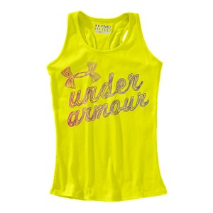 Fitness When it comes to UA graphics, it's not only what the shirt says...it's what it does. And this ribbed racer back is built to do more than any regular tank can. It's got back mesh panels for extra ventilation, a soft, lightweight fabric that wicks sweat super fast, and an extra stretchy ribbed construction that follows your lead without ever losing shape. Soft, lightweight rib fabric delivers amazing next-to-skin comfortSignature Moisture Transport System wicks sweat to keep you dry and lightLightweight stretch construction improves mobility and maintains shapeClassic racer back detail with strategic mesh insetsScribble UNDER ARMOUR front graphicPolyester/ElastaneImported - $13.19