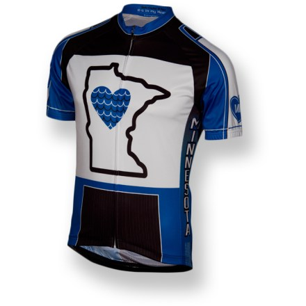 Fitness Be your own star of the north and show your Minnesota pride with the It's in my Heart Minnesota State bike jersey. Lightweight, breathable polyester wicks sweat away from your skin and dries quickly, keeping you comfortable while working hard. Full-length front zipper provides ventilation when you need to cool off. Elasticized hem with silicone grip tape keeps the jersey in place while riding; side panels with 4-way stretch promote comfort and full range of movement. The Minnesota State bike jersey has 3 rear pockets to easily store small essentials such as ID, energy gels or a spare tube. - $79.95