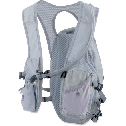 Camp and Hike Designed to carry food and water on long runs and rides, the lightweight Nathan HPL #020 Race Hydration vest handles all your hydration needs in a lightweight, comfortable design. Propulsion Harness(TM) moves in harmony with your shoulder and upper-back movements, reducing wasted energy. Wall Mesh(TM) shoulder straps and backpanel channel air across your skin and wick moisture away to improve overall comfort. Insulated reservoir compartment zips open and provides quick, easy access to 2-liter reservoir. Bite Me(TM) valve is bent at a 90deg angle and can be easily shut off with a quick twist. Zippered front pocket secures keys, ID or cash; stretchy mesh side pocket keeps energy gels within easy reach; 2 additional zippered rear pockets. Closeout. - $59.73
