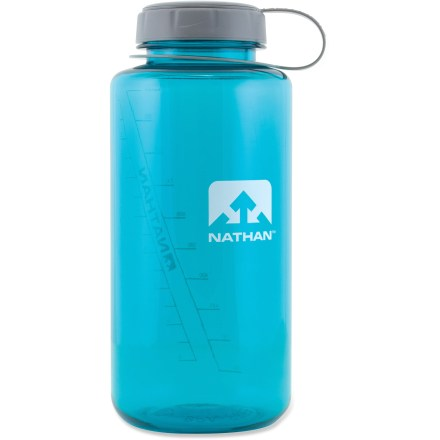 Camp and Hike Whether it's in the side pocket of your daypack or sitting on your work desk, the 34oz Nathan Tritan(TM) Widemouth water bottle makes staying hydrated easy. Tritan copolyester provides excellent impact resistance, bottle is dishwasher safe (top rack only) and completely BPA-free. Wide mouth with screw top lid makes it easy to fill without spilling and accommodates ice cubes. Nathan Widemouth Tritan bottle has a loop-top design so you won't drop the lid. Do not microwave. Closeout. - $4.73