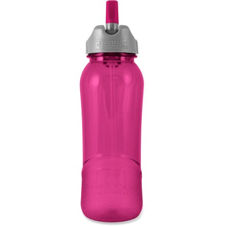 Camp and Hike The 25oz. Nathan Flip-Straw Tritan(TM) water bottle features an easy-to-use flip-top opening and straw, making it easy to stay hydrated on the trail even if you only have one hand free. Eastman Tritan(TM) copolyester bottle holds 25 fl. oz. (750ml) of your favorite drink; bottle is 100% BPA free and dishwasher safe (top rack only). Convenient Flip Straw lid lets you sip on fluids without unscrewing the cap or tilting the bottle. Finger loop with QuickClip(TM) lets you carry the bottle in the crook of a finger or attach the bottle to belts and backpacks. Wide-mouth, screw-top lid is easy to grip, clean and fill; opening is large enough to accept ice cubes. Bottle is shaped to fit in most car cup holders and bike cages. Includes molded gradations on the bottle so you can measure water amounts while mixing energy drinks. Do not microwave. Closeout. - $3.73