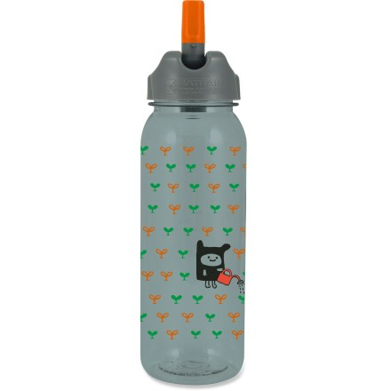 Camp and Hike The 25oz. Nathan Plant-a-Tree Flip-Straw Tritan(TM) water bottle allows easy on-the-go hydration and features fun graphics reminding you that plants need H2O just as much as you do. Eastman Tritan(TM) copolyester bottle holds 25 fl. oz. (750ml) of your favorite drink; bottle is 100% BPA free and dishwasher safe (top rack only). Convenient Flip Straw lid lets you sip on fluids without unscrewing the cap or tilting the bottle. Finger loop with QuickClip(TM) lets you carry the bottle in the crook of a finger or attach the bottle to belts and backpacks. Wide-mouth, screw-top lid is easy to grip, clean and fill; opening is large enough to accept ice cubes. Bottle is shaped to fit in most car cup holders and bike cages. Includes molded gradations on the bottle so you can measure water amounts while mixing energy drinks. Do not microwave. Closeout. - $3.73