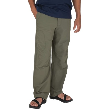Camp and Hike Built for an action-packed day, the Royal Robbins Access pants with a 32 in. inseam feature moisture-wicking, quick-dry fabric with plenty of stretch. Ripstop nylon is blended with spandex to provide a combination of durability for long-lasting wear and stretch for range of movement. With a UPF 50+ rating, fabric provides excellent protection against harmful ultraviolet rays. Fabric resists wrinkles, wicks moisture and dries quickly. Hand pockets and rear pockets with rip-and-stick closures hold your travel essentials. Zippered thigh pocket on the right and a drop-in cell phone pocket with snap closure on the left provide additional storage. Gusseted crotch allows unrestricted range of motion. The Royal Robbins Access pants have a regular fit. Closeout. - $14.73