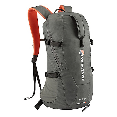 Ski Free Shipping. Montane Anaconda 18L Pack DECENT FEATURES of Montane Anaconda 18L Pack Constructed from RAPTOR TL fabric in the main body which is tough yet exceptionally lightweight. Features a superb DWR and tear resistance. RAPTOR UTL ultra tough, lightweight bottom panel prevents abrasion against rock surfaces Moulded MONTANE 'Comfort Back Pad' features channels that wick sweat and rainwater away from the body and give additional ventilation Waterproof shell friendly 'Contact Mesh' and MONTANE 'Comfort Back Pad' facings prevent abrasion on shell clothing when full to capacity and with heavy use Attachment point for walking poles or single ice axe Large double zippered side and top opening entry point to main pack body for excellent access to contents within Features internal storm flap behind all zippers to reduce water ingress Large front easy grab handle for lifting pack from the ground Flat chest harness with left hand clip prevents bulky buckles over the sternum and increases comfort Symmetrical single hand side compression pulls Reversible locking webbing buckles Double tension waist harness for extra stability and pack weight equalisation when moving fast GRANITE STRETCH tough bucket side pockets for water bottle and backcountry ski storage Internal security pocket featuring vertical upside down zippered entry preventing coin and key loss Front central gear loop Includes webbing and drawcords that can be affixed to front loops for additional stretch front storage Quality Nylon webbing used throughout H^2O top right tube opening and internal bladder storage inside Zip garages on main access zips Arm harness gear loops and H^2O tube attachment MONTANE custom made zip pulls Top load easy grab handle 360deg 'DUSK TILL DAWN' head torch reflectivity at lower rear of pack in optimum position The SPECS Fabric: RAPTOR TL Reinforced base fabric: RAPTOR UTL Back pad / shoulder straps: CONTACT Mesh Side pockets: GRANITE STRETCH Lining fabric: HALO Weight: 636g / 22.4oz FIT: Active Mountain This product can only be shipped within the United States. Please don't hate us. - $98.95