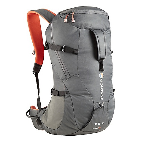 Ski Free Shipping. Montane Cobra 25L Pack DECENT FEATURES of Montane Cobra 25L Pack Constructed from RAPTOR TL fabric in the main body which is tough yet exceptionally lightweight. Features a superb DWR and tear resistance. RAPTOR UTL ultra tough, lightweight bottom panel prevents abrasion against rock surfaces Moulded MONTANE 'Comfort Back Pad' features channels that wick sweat and rainwater away from the body and give additional ventilation Waterproof shell friendly 'Contact Mesh' on the shoulder straps and 'Comfort Back Pad' facings prevent abrasion on shell clothing when the pack is full to capacity and with heavy use 'Dual Tool' reversed clean technical ice axe and walking pole attachment system. Ice axes can be reversed to an 'Alpine safe' position for increased safety when moving Large double zippered side and top opening entry point to main pack body for excellent access to contents within Features internal storm flap behind all zippers to reduce water ingress Buddy pocket with double zips for front access whilst on the move Large front easy grab handle for lifting pack from the ground Flat chest harness with left hand clip prevents bulky buckles over the sternum and increases comfort Symmetrical single hand side compression pulls Reversible locking webbing buckles Body curve hip fins for strong comfort and stability when on the move Double tension waist harness for extra stability and pack weight equalisation GRANITE STRETCH tough bucket side pockets for water bottle and backcountry ski storage Internal security pocket featuring vertical upside down zippered entry preventing coin and key loss Right hip headtorch and gel shot stash pocket Left hip gear loop for clipping whilst on the move Front central gear loop Quality Nylon webbing used throughout Includes webbing and drawcords that can be affixed to front loops for additional stretch front storage H^2O top right tube opening and internal bladder storage inside Zip garages on buddy pocket and main access zips Arm harness gear loops and H^2O tube attachment MONTANE custom made zip pulls Top load easy grab handle 360deg 'DUSK TILL DAWN' head torch reflectivity at lower rear of pack in optimum position The SPECS Fabric: RAPTOR TL Reinforced base fabric: RAPTOR UTL Back pad / shoulder straps / hip fins: CONTACT Mesh Side pockets: GRANITE STRETCHL Lining fabric: HALO Weight: 819g / 28.9oz FIT: Active Mountain This product can only be shipped within the United States. Please don't hate us. - $113.95