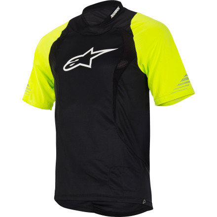 Entertainment It's nearly impossible to stay cool while you're riding your bike in hot weather, especially if you're wearing pads. The Alpinestars Drop Short-Sleeve Jersey does its best to help you achieve the impossible with moisture-wicking fabric and advanced venting. The Drop Jersey was designed to take the edge off the hottest summer days. The advanced polyester fabric pulls moisture away from your body to keep you dry and comfortable, even in the heat of the summer. Alpinestars also designed the Drop Jersey with cooling mesh panels on the front and back that push hot, stale air out and allow fresh, cool air to flow in and around your torso, especially when you're wearing a backpack or hydration pack. The Drop's elongated lower back profile protects you from the sun and prevents unwelcome exposure. Alpinestars included a terry cloth patch on the hem for cleaning your eyewear. There's also a side pocket for your phone or MP3 player with a headphone cord conduit, and a hook on the collar securely fastens your headphones to keep them form getting snagged. The Alpinestars Drop Short-Sleeve Jersey comes in Bright Green/White, Yellow Fluo/Black, White/Black and is available in sizes Small  to XX-Large. - $54.95