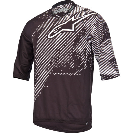 Entertainment Alpinestars designed the Manual Jersey for hot-weather freeriding. The Manual is made with lightweight, breathable polyester fabric that pulls moisture away from your body to keep you dry and comfortable. The loose cut accommodates elbow guards and chest and spine protectors. Designed to match up perfectly with Alpinestars Manual freeride Shorts, the Manual brings a little extra style to your riding. The Manual Jersey was designed to take the edge off the hottest summer days. The polyester fabric pulls moisture away from your body to keep you dry and comfortable, even in the heat of the summer. The jersey fits over pads and body armor. It accommodates a spine protector and elbow pads, so you can stay well-protected while you ride without feeling like your jersey is trying to squeeze you to death. 3/4-length sleeves offer added protection from sun and debris without bunching up or getting in the way of your gloves. The slightly higher sleeve openings also allow air to flow freely into the jersey.The Manual's elongated lower back profile protects you from the sun and prevents unwelcome exposure. Alpinestars also included a terry cloth patch on the hem for cleaning your eyewear. There's also a side pocket for your phone or MP3 player with a headphone cord conduit, and a hook on the collar securely fastens your headphones to keep them form getting snagged. The Alpinestars Manual Jersey comes in Dark Grey, Black, Orange, and Violet and is available in sizes X-Small  to XX-Large. - $53.95
