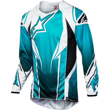 Fitness Alpinestars named the A-Line Jersey after one of the most famous trails in mountain biking. A-Line features huge berms, mind-blowing tabletops and a flow that only the folks at Whistler could put together. To live up to this name, the Alpinestars A-Line Jersey had to be pretty tough. And it is. Alpinestars designed the A-Line Jersey to be used in hot weather. The spandex/synthetic blend stretches for an unlimited range of motion. You won't ever feel the A-Line bind up while you ride. This also adds to the jersey's durability, because it stretches rather than tears. The synthetic fabric pulls moisture away from your body to keep you dry and comfortable, even in the heat of the summer. Alpinestars also added cooling mesh panels on the sides that push hot, stale air out and allow fresh, cool air to flow in and around your torso.The A-Line Jersey was designed to fit over pads and body armor. It accommodates elbow and spine protectors comfortably, so you can stay well-protected while you ride without feeling like your jersey is trying to squeeze you to death. Unlike most freeride jerseys, the A-Line also takes aerodynamics into account, so you can ride as efficiently as possible when the wind kicks up and tries to slow you down. Silicone gripper printing along the back hem keeps the jersey in place when you have it tucked into your hem. The Alpinestars A-Line Jersey comes in Violet/white, Blue Marine/white, Yellow Fluo/white, Red/black, and Gray/black and is available in sizes Small to XX-Large. - $59.95