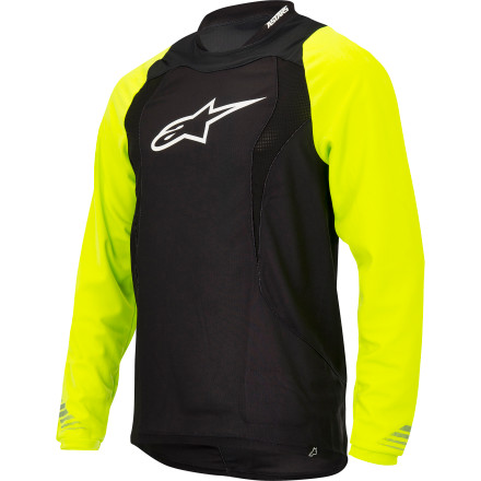 Entertainment The Alpinestars Drop Long-Sleeve Jersey bridges the gap between lightweight jersey and body armor with an advanced mid-weight polyester fabric that provides a bit of abrasion protection while regulating temperature to keep you comfortable. The Drop Jersey was designed to provide a bit more protection than a standard jersey. The advanced mid-weight polyester fabric pulls moisture away from your body to keep you dry and comfortable, even in the heat of the summer. Alpinestars also designed the Drop Jersey with cooling mesh panels on the front and back that push hot, stale air out and allow fresh, cool air to flow in and around your torso, especially when you're wearing a backpack or hydration pack. The Drop's elongated lower back profile protects you from the sun and prevents unwelcome exposures. Alpinestars also included a terry cloth patch on the hem for cleaning your eyewear. There's a side pocket for your phone or MP3 player with a headphone cord conduit, and a hook on the collar securely fastens your headphones to keep them form getting snagged. The Alpinestars Drop Long Sleeve Jersey comes in Bright Green/white, Yellow Fluo/black, White/black and is available in sizes Small  to XX-Large. - $57.95