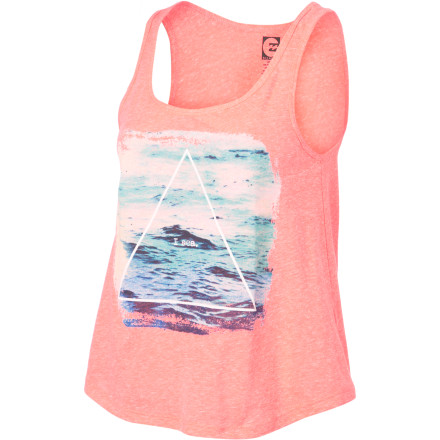 Surf Slip the Billabong Women's We Belong To The Sea Tank Top over your bikini top, grab your snack money, and head to the ice cream parlor for some soft-served deliciousness. - $22.45