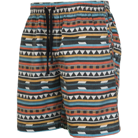 Surf The Billabong Scandal Elastic Shorts feature a wild all-over geometry pattern and an 18-inch inseam that rests above the knee. Pre-washed fabric feels incredibly soft next to your skin for a broken-in feel from the first time you wear them. - $44.95