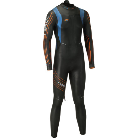 Surf Unlike most hallmark wetsuits, the Blueseventy Helix Wetsuit doesn't bother itself with all of the weight and complexity that's derivative of hyper-corrective accoutrements. Instead, its focus is devoted to buoyancy, thin constructions, and most importantly, flexibility. Simply put, Blueseventy created the Helix for advanced swimmers, not to make the moderate exceptional. To achieve this, Blueseventy produced the Helix with a buoyancy ratio of 5-5-4. This means that the cell density of the suit's buoyancy sectors varies throughout its construction, from 5mm to 4mm. At the chest, you'll find two lateral panels of 5mm Yamamoto Aerodome neoprene. Additionally, this 5mm Aerodome has been extended down the torso to the lower legs. This maximizes buoyancy by keeping the hips high in the water, creating an efficient, 'downhill' swimming position. At the lower legs, where articulation is less frequent, you'll find that Blueseventy incorporated a 4mm Yamamoto C39 neoprene. So, you might be asking yourself, why is any of this important' Well, just as curvy, sleek shapes minimize your drag coefficient on land, a wetsuit's level of buoyancy is the minimizing variable in the water. The supporting science behind this claim is fairly elementary -- water is around 1000 times denser than air, and it produces a potential drag coefficient 10 times that of air, as well. So, minimizing your body's submergence is vital to optimizing hydrodynamics. Accordingly, Blueseventy awarded the Helix with the maximum thickness allowed under IFR, 5mm. However, buoyancy amounts to nothing if your flexibility is inhibited by dense neoprene. And, not surprisingly, this is where the Helix truly shines. In fact, you'll find that the Helix is the world's first wetsuit to feature 1mm neoprene in the arms and underarm gussets. In addition to this, Blueseventy carried this flexible construction throughout the Helix. - $649.95
