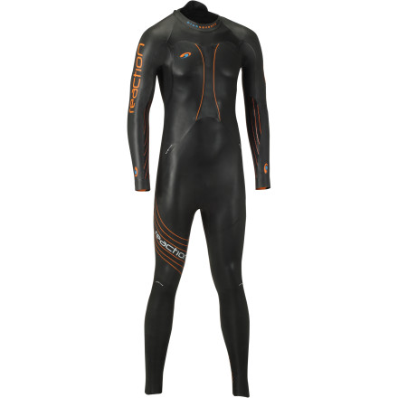 Surf When it comes to gold medalists, world champions, and ironman victors, no one really touches the Washington-based Blueseventy. Just from its resume, it's easy to tell that its designs are purposeful and precise. However, its fan-favorite reception is really due to only including what you really need for race day. By this, we mean that you're going to find suits like the Reaction Wetsuit are focused on buoyancy and flexibility. Accordingly, you'll experience a minimized hydrodynamic profile, while your stroke and kick efficiency is maximized. To achieve this, Blueseventy produced the Reaction with a buoyancy ratio of 4-5-4. This means that the cell density of the suit's buoyancy sectors varies throughout its construction, from 4mm to 5mm. At the chest, you'll find two lateral panels of 4mm Yamamoto C38 neoprene. Additionally, the torso runs 5mm down to the lower legs. This maximizes buoyancy by keeping the hips high in the water, creating an efficient, 'downhill' swimming position. At the lower legs, where articulation is less frequent, you'll find that Blueseventy incorporated a 4mm Yamamoto C39 neoprene. So, you might be asking yourself, why is any of this important' Well, just as curvy, sleek shapes minimize your drag coefficient on land, a wetsuit's level of buoyancy is the minimizing variable in the water. The supporting science behind this claim is fairly elementary -- water is around 1000 times denser than air, and it produces a potential drag coefficient 10 times that of air, as well. So, minimizing your body's submergence is vital to optimizing hydrodynamics. Accordingly, Blueseventy awarded the Reaction with the maximum thickness allowed under IFR, 5mm. Additionally, by placing 5mm panels along the back of the hips, you'll experience less body roll through your stroke, maximizing the efficiency of your movements. However, buoyancy amounts to nothing if your flexibility is inhibited by dense neoprene. - $394.95