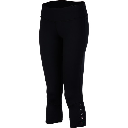 Fitness The Carve Designs Women's Shaffar Capri Pant hugs your curves in movable comfort and gives you sporty style whether getting your stretch on at the downtown studio or park. Made from stretch nylon blend, this fitted pant won't hinder your Crane or Tree, and a wide contoured waistband flatters your figure and provides all-day non-binding comfort. Fun snap detailing on the legs adds flair, and an interior front pocket lets you conveniently carry keys or cash. - $63.95