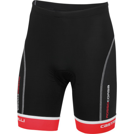 MTB When designing apparel for triathletes, all three disciplines must be given equal consideration. The shorts you wear need to function for each distinct leg of the event, with characteristics that allow you to smoothly transition from one sport to the next. Castelli knows how important this is, which is why it's developed the Free Tri Shorts. The Free Tri Shorts are constructed with Castelli's hydrophobic Instadry Speed fabric. This material's tight knit composition holds your muscles comfortably in place, providing needed protection from run impact and road vibration. A notable perk to the derivative next-to-skin fit is that the shorts won't cause any excess drag, both on the land and in the water. And in terms of the latter, Instadry's hydrophobic treatment provides a smooth surface that cuts through the water. Additionally, this material prevents water absorption from weighing you down during your swim and causing discomfort after T1. Panels have been joined with flatlock stitching throughout, preventing chafing and irritation during your run or ride. Castelli's GIRO3 leg gripper system and draw cord waist comfortably hold the Free Tri shorts perfectly in place throughout the versatile movements of your race. The Chamois built into the shorts is Castelli's triathlon-exclusive KISS Tri. Castelli designed this insert to work most effectively while you're in the aerodynamic position on the bike, with unnecessary foam trimmed away to optimize comfort during the run and swim portions of your race. Furthering this concept, the surface of the insert is entirely free from seams. And when mated with the chamois' high engineered elasticity and low, 3mm density, Castelli guarantees that it'll follow your locomotion during the run. The Castelli Free Tri Shorts are available in six sizes from Small to XXX-Large and in the color White/black/red. - $99.95