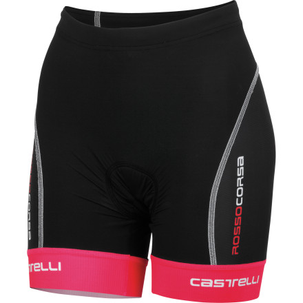 MTB It could be argued that the most important aspect of a pair of tri shorts is the shorts' aero- and hydro-dynamic benefits. It all comes down to managing airflow, and coincidentally, the human body accounts for over 90% of aerodynamic drag on the bike and 100% of hydrodynamic drag during the swim. The good folks at Castelli are experts on aerodynamics, and the result of their expertise is the Women's Free Donna Tri Short. By combining a nearly seamless design with a low-profile, compacted thread Lycra, the Free Donna is nearly invisible to air and water, which, in turn, makes you faster. The integrated leg grippers don't feel like they're binding your legs, as some grippers can. They hold your leg subtly, so you don't notice them as you ride, run, or swim. Castelli achieves this effect by knitting the grippers directly into the fabric at the hem, so everything lies flat and gently grips your leg without binding. Rounding off the shorts is Castelli's triathlon-exclusive KISS Tri chamois. Castelli designed the KISS Tri to work most effectively while you're in the aero position on the bike. It trimmed away unnecessary foam to optimize comfort during the run and swim portions of your race. The removal of excess foam also allowed Castelli to make the pad wider, thus moving stitching away from the crotch to avoid irritation. A liner on the front of the short adds support to make you more comfortable during the run. The Castelli Free Donna Tri Short is available in six sizes from Small to 3X-Large and in the color White/black/pink. - $69.97