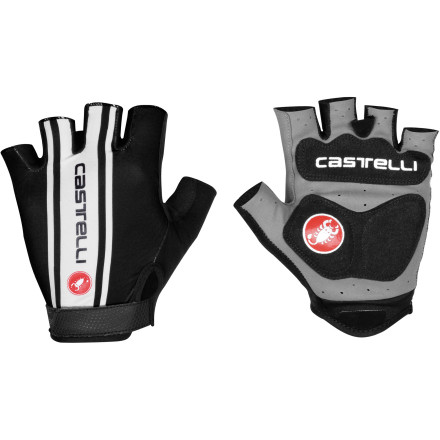 MTB Castelli designed its new S. Tre. 1 Gloves for the rider who prefers a minimal design, but still demands the cushioning, support, and solid grip necessary for day-long endeavors in the saddle. Castelli constructed the S. Tre. 1's palms from a synthetic leather with a thin foam insert padding. This combination breathes extremely well and provides just the right amount of cushioning for choppy roads. The result is a palm material that allows you to adequately feel the road through the bars, while keeping your hands cool and dry. Silicone printed logos across the palm inserts provide texture for added grip, and microsuede panels along the backs of the thumbs allow you to comfortably remove sweat from your face. The back panels utilize lightweight printed Lycra, which stretches to conform to your hands and aids in the transferring of moisture from your skin. Hook-and-loop closures at the wrists keep the gloves securely fastened, and easy-off central pull tabs let you remove them with ease. The Castelli S. Tre. 1 Gloves are available in six sizes from X-Small to XX-Large and in the colors Black/white, Black/yellow fluo, Red/white, White, and White/ocean. - $29.96