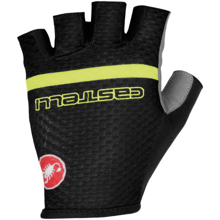 MTB Originally designed to alleviate a bit of the hand-abuse during Paris-Roubaix, the Velocissimo Team Glove has thankfully, trickled down to us. Castelli constructed the Velocissimo's palms from a synthetic leather with a thin foam insert padding. This combination breathes extremely well and provides just the right amount of cushioning for choppy roads. The result is a palm material that allows you to adequately feel the road through the bars, while keeping your hands cool and dry. Silicone printed logos across the palm inserts provide texture for added grip, and microsuede panels along the backs of the thumbs allow you to comfortably remove sweat from your face. The back panels utilize lightweight printed Lycra, which stretches to conform to your hands and aids in the transferring of moisture from your skin. The pull-on design reduces weight and bulk. The Castelli Velocissimo Team Gloves are available in six sizes from X-Small to XX-Large and in the colors Navy/white, Black/yellow fluo, and White/anthracite/black. - $34.95