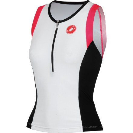 MTB With its two large back pockets, unusual in tri gear and invisible to wind and water, the Castelli Women's Free Donna Tri top is ideal for long days and long-distance rides. Castelli constructed the Free Donna Tri Top from stretch polyester with a hydrophobic treatment. So, it glides through the water with hydrodynamic properties akin to the newest swim skins. It also happens to dry very quickly when you get out, improving comfort post-T1. Additionally, Velocity mesh at the back improves aerodynamics and provides cooling airflow. The Tri Top features a full-length zipper with an oversized tab in order to both ease entry and exit and to allow on-the-fly heat dumps. Castelli also incorporated two rear pockets that are large enough to carry your race-day nutrition. Additionally, Castelli covered them with what it calls 'fairing flaps' in order to maintain a low hydrodynamic profile in the water. The Castelli Free Donna Sleeveless Tri Top is available in six sizes from Small to 3X-Large and in the color White/black/pink. - $71.96