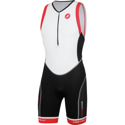 MTB Castelli's Free Tri Distance Suit is designed for long races where having advanced fabric technologies, built-in comfort features, and extra pocket capacity become the difference between merely surviving and victory. Triathlon apparel needs to match the level of dedication and training that you've invested into all three legs of the sport, which is why Castelli introduced its Free Tri suit to propel you through your hardest efforts. The bulk of the Free Tri Distance Suit is constructed with Castelli's hydrophobic Instadry Speed fabric. This material's tight knit composition holds your muscles comfortably in place, providing needed protection from run impact and road vibration. A notable perk to the derivative next-to-skin fit is that the suit won't cause any excess drag, both on the land and in the water. In terms of the latter, Instadry's hydrophobic treatment provides a smooth surface that cuts through the water. Additionally, this material prevents water absorption from weighing you down during your swim and causing discomfort after T1. Like Castelli's cycling jerseys, the Free Tri Distance Suit features a Velocity mesh construction at the back panel. This highly-breathable, lightweight fabric adds itself to the suit's flexibility, while reducing the internal temperature and transferring perspiration during the land legs of the course. Panels have been joined with flatlock stitching throughout, preventing chafing and irritation during your run. Additionally, Castelli's GIRO3 arm and leg gripper system comfortably holds the Free Tri Distance Suit perfectly in place throughout the versatile movements of your race. The Chamois built into the suit is Castelli's triathlon-exclusive KISS Tri. Castelli designed this insert to work most effectively while you're in the aerodynamic position on the bike, with unnecessary foam trimmed away to optimize comfort during the run and swim portions of your race. - $149.95