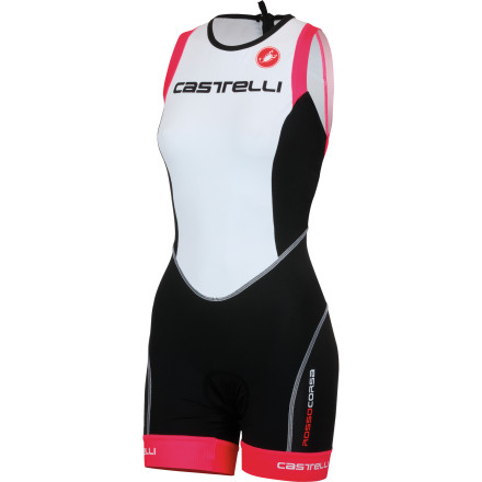 MTB The Castelli Free Donna Tri Distance Suit was created for triathletes who need the ultimate gear for long distance races. In other words, the most demanding set of circumstances that either an athlete or a piece of clothing can face. Castelli constructed the Free Donna Tri Distance Suit from Instadry Speed Fabric with a hydrophobic treatment. So, it glides through the water with hydrodynamic properties akin to the newest swim skins. It also happens to dry very quickly when you get out, improving comfort post-T1. Additionally, Velocity mesh at the back improves aerodynamics and provides cooling airflow. The Tri Top features a full-length zipper with an oversized tab in order to both ease entry and exit and to allow on-the-fly heat dumps. Castelli also incorporated two rear pockets that are large enough to carry your race-day nutrition. Additionally, Castelli covered them with what it calls 'fairing flaps' in order to maintain a low hydrodynamic profile in the water. This brings us to the shorts' aero- and hydro-dynamic benefits. It all comes down to managing airflow, and coincidentally, the human body accounts for over 90% of aerodynamic drag on the bike and 100% of hydrodynamic drag during the swim. To mitigate this, the shorts have been made to be what Castelli calls 'slippery.' By combining a nearly seamless design with a low-profile, compacted thread Lycra, air and water flow remains attached to the body as it comes off of the helmet and front of the bike during the ride, and the head and shoulders during the swim. The integrated leg grippers don't feel like they're binding your legs, as some grippers can. They hold your leg subtly, so you don't notice them as you ride, run, or swim. Castelli achieves this effect by knitting the grippers directly into the fabric at the hem, so everything lies flat and gently grips your leg without binding. Rounding off the shorts is Castelli's triathlon-exclusive KISS Tri chamois. - $112.46