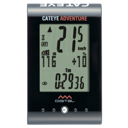 MTB With the new CatEye Adventure Wireless Computer, you gain access to all of the crucial cycling metrics you've come to expect from CatEye, as well as an integrated altimeter. CatEye designed the Adventure Computer with its ease-of-use at the forefront of design. Accordingly, its ClickTec Plus design provides a simple-to-use, single button operation system. With the ClickTec Plus, the original ClickTec was rethought, now allowing you to press any part of the face to access your data, with or without full-finger gloves. This means you can easily navigate through metrics like current speed, trip distance, elapsed time, average speed, maximum speed, and now altitude. The Adventure's large screen is split into three rows, simultaneously displaying your speed up top, altitude and gradient below that, with all other data functions along the bottom. This design keeps all of your crucial your numbers organized on a single display, without having to fumble through multiple screens. With CatEye's new pressure-based altimeter and temperature sensors, you set your altitude at a known point to get a reference, and then you are all set. The Adventure also incorporates a second bike sensor recognition and slope angle. Another couple of key features are the Adventure's minimal size and weight. The CPU measures out to 57 x 34 x 15mm, and it only weighs around 30 grams. Additionally, the CPU setup is a simple affair, as is its mounting setup. In fact, CatEye includes its tool-free bracket that mounts to either your stem or bars. The CatEye Adventure Computer is available in the color Black and in one size. Each computer includes a CR2032 battery, mounting bracket, and an ISCTec sensor. - $75.00