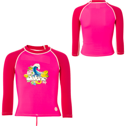 Surf Since your little one will spend most of her first surf lesson riding on her belly, the DAKINE Toddler Girls' Wave Rashguard might be a good idea. The 3/4-length shirt is made of comfy, stretchy Lycra that fits close (but not too close) and protects her skin from waxy boards and salty water. She'll be ready for another lesson tomorrow because the flatlock seams prevent chafing and the UPF 50+ fabric blocks the skin-scorching rays. - $14.97