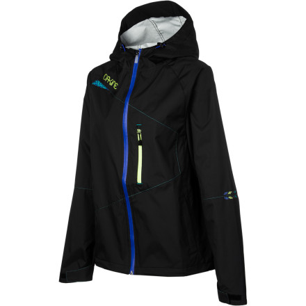 MTB The Dakine Women's Shield Jacket stashes away conveniently in your pack for those times when you're caught by an unexpected shower. This waterproof, breathable 2.5-layer jacket will stash compactly in your pack, so you'll be ready when the weather pulls a fast one.Dakine built the Shield Jacket with 5K waterproof, 5,000g/m breathable nylon fabric that will hold off light to moderate rain. This isn't a spray-on treatment, it's a waterproof breathable membrane that will last for years with proper care. The jacket's breathability allows moisture to escape, so you don't get that nasty, clammy feeling that some jackets will give you. Dakine also equipped the Shield with zippered underarm vents that allow you to dump heat in a hurry and let the fresh air in. A vented back panel forces out stale, clammy air. The fit is pure freeride. The Shield is loose and comfortable. Articulated sleeves give the jacket a natural feel, and the dropped tail covers you in the seated position. Dakine rounded out the Shield's construction with adjustable cuffs, a helmet-compatible cinch hood, and an extended back hem to keep you covered when you're bent down in the pedal position. The Dakine Women's Shield Jacket comes in four sizes from Small to X-Large. It's available in Black. - $124.95