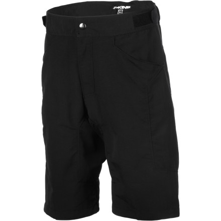 MTB Dakine built the Ridge Short for the young, aspiring freerider. But, who are we kidding' You're probably already making your dad look silly on the trail. In an effort to keep up with your riding, Dakine designed the Ridge Short to be comfortable and durable. Burly nylon canvas construction can handle all the abuse you can dish out. Since pedaling isn't really a priority, and staying cool is a must, Dakine left out the chamois liner and focused on keeping the Ridge within the confines of a realistic budget. Dakine built the Ridge Short with tough nylon fabric. Since nylon is already abrasion-resistant, Dakine was able to use a light 125-gram weave. Reinforced stitching through key stress areas ensures several seasons of riding. A gusseted crotch adds durability and a broader range of motion. Hook-and-loop waist adjustments allow the Ridge short to keep up with your sudden, terrifying growth spurts, and the long freeride cut looks good on or off the bike. Two front pockets carry your riding essentials. The Dakine Ridge Short comes in three sizes: Small, Medium, and Large. It's available in Black. - $49.95