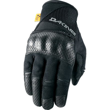 MTB Dakine designed the Defender glove to provide all the protection that you need for serious DH riding. Tough knuckle armor with burly leather covering keeps your knuckles and fingers safe while you smash through the trees. If it's hand protection that you need, you won't find much tougher than the Defender. The back of the Defender glove is ultra-breathable open nylon mesh. Air flows freely through the glove to keep your hand cool and comfortable. Composite knuckle armor protects your knuckles during an impact. This armor is covered with durable, drum-dyed leather, which is perforated to allow air to flow through the glove. The palm is tough Clarino synthetic leather. Padding is a lightweight D30 pad, and silicone grippers on the fingers add grip to your brake fingers. Dakine also put microfleece panels on the thumbs to allow you to wipe moisture from your face. A hook-and-loop strap at the wrist secures the glove. The DAKINE Defender Glove comes in four sizes: Small through X-Large. It's available in Red or Black. - $44.95