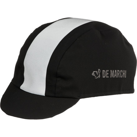 MTB Don't let the traditional good looks fool you, the DeMarchi Contour Plus Ultra Cap isn't the same one used in the 1952 Tour de France. This one is waterproof, breathable, and designed to fit comfortably under your helmet, offering weather protection and an alternative to helmet-hair at the pub, post-ride. The DeMarchi Contour Plus Cap has a classic, stylish look and endless practicality. Shield your skull from the wind, rain, and sun; protect your eyes, warm your noggin after finishing a race, keep sweat out of your eyes when mastering your spin on the rollers indoors, or sweet-talk the talent at the local caf.The Contour Plus Cap owes its versatility to its eVent waterproof breathable membrane. eVent is the most breathable completely waterproof membrane on the market, which allows sweat vapor to escape before you get that unpleasant clammy feeling inside the cap. The Castelli Retro cap comes in Black. One size fits most. - $40.00